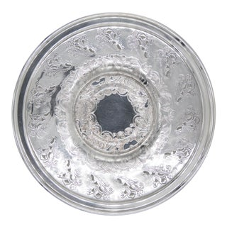 Vintage Silver Plate Pierced Round Tray For Sale