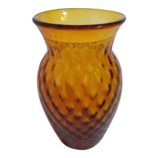 Antique Amber Dimpled Glass Vase With Pontil Bottom For Sale