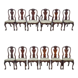 Kindel Winterthur Set of 12 Mahogany Dining Chairs For Sale