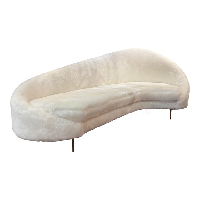 Contemporary Sweeping Curved Sofa in White Faux Fur For Sale