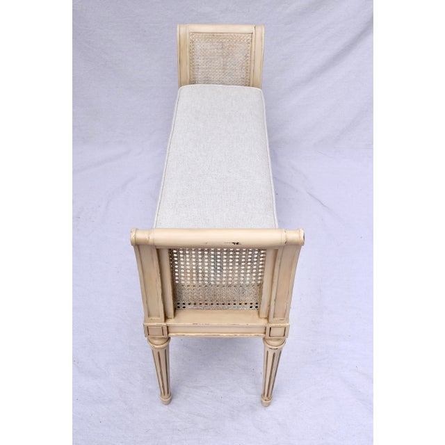Vintage Louis XVI-Style Caned Scroll Arm Bench For Sale In Philadelphia - Image 6 of 7