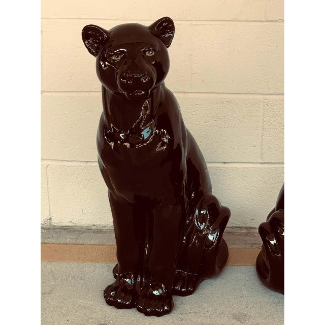 Mid-Century Modern Pair of Italian Porcelain Seated Black Panthers For Sale - Image 3 of 12