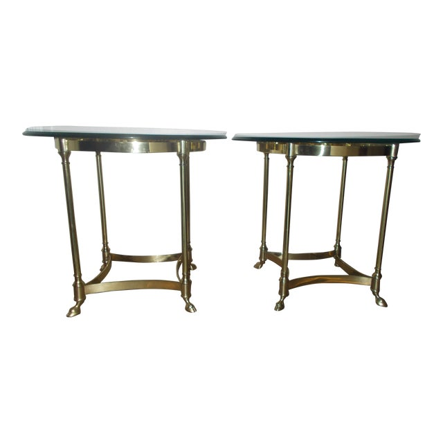 La Barge Glass & Brass End Table - A Pair - Image 1 of 5