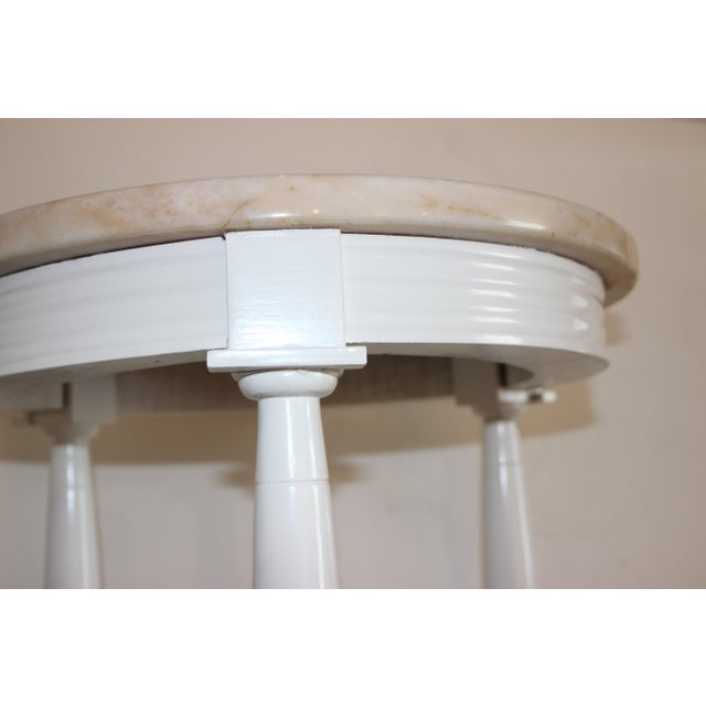 Pink Hollywood Regency Side Tables in White Lacquer With Pink Marble: Tops 1940s - a Pair For Sale - Image 8 of 12
