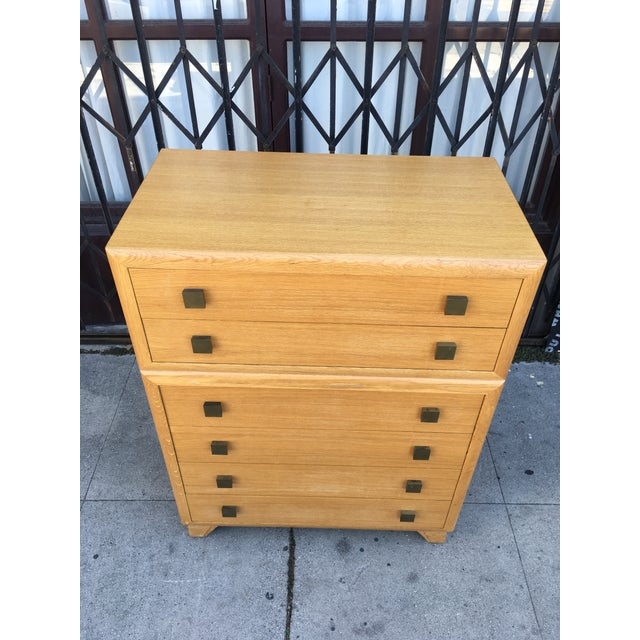 Incredible oak high boy six drawer dresser which we believe to be a rare Paul Frankl design. Gorgeous late art deco early...
