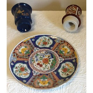 "Vintage Imari Style Ucgc Japan Decorative 10"" Plate & Candle Holders - Set of 3 Preview"