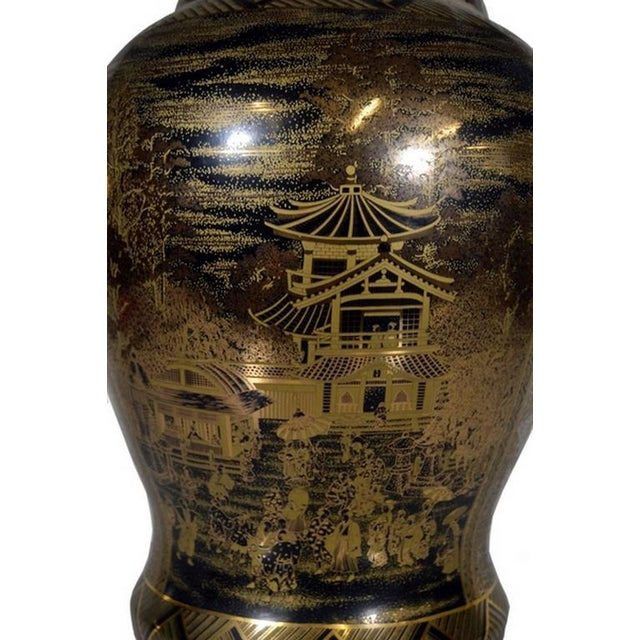 Vintage Black and Golden Hand-Painted Porcelain Vase from China, 20th Century For Sale - Image 4 of 11