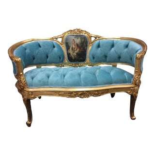 French Blue Tufted With Scenery Louis XVI Style Sofa/Settee For Sale