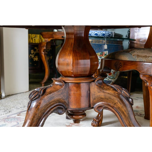 English Walnut & Burl Round Center Table For Sale - Image 4 of 8