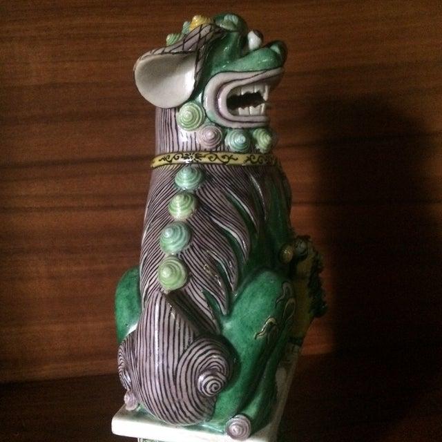 Famille-Verte Porcelain Foo Dogs - Pair For Sale - Image 4 of 9