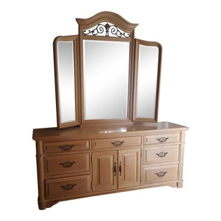 Late 20th Century Thomasville Oak and Ironwork Triple Dresser With Tri-Fold Mirror For Sale