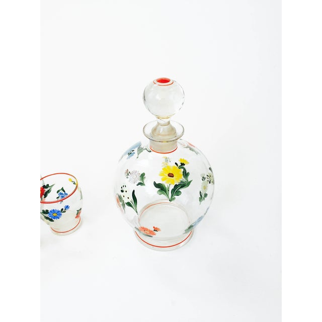Vintage 5-Piece Floral Czech Decanter Set - Image 3 of 6