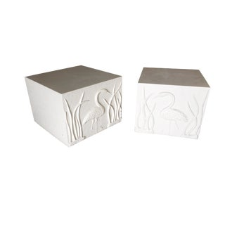 Large White Cube Pedestal Side Tables W/ Crane Relief, Pair 1980s For Sale