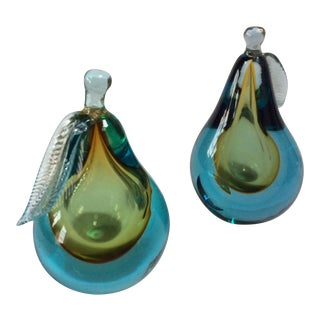 Green and Blue Barbini Murano Pears - A Pair For Sale