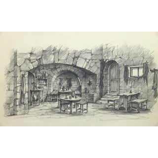 Belgian Pencil Sketch - Rustic Tavern For Sale