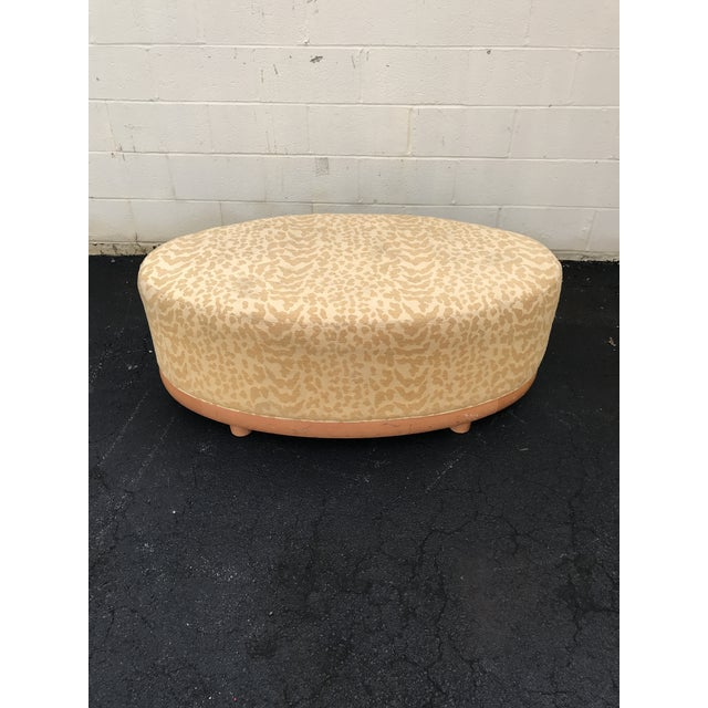 Mid Century Modern Gold Leopard Print Light Wood Ottoman For Sale - Image 4 of 6