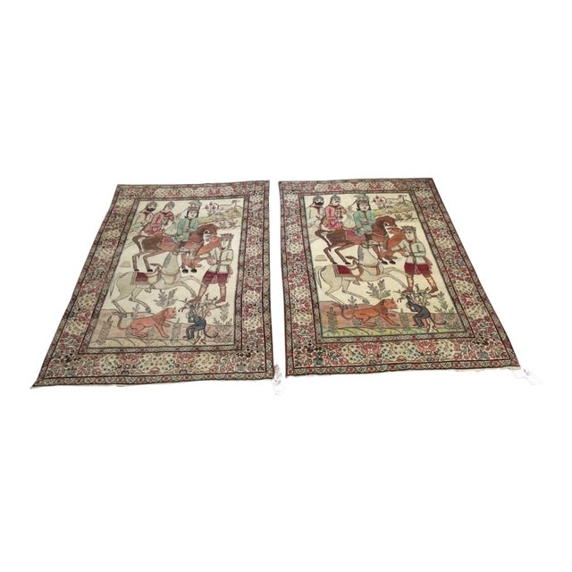 Late 19th Century Antique Handmade Pictorial Rugs - a Pair For Sale