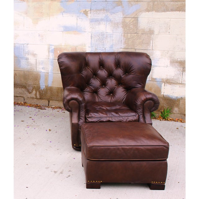 Restoration Hardware Churchill Chair & Ottoman - Image 3 of 9