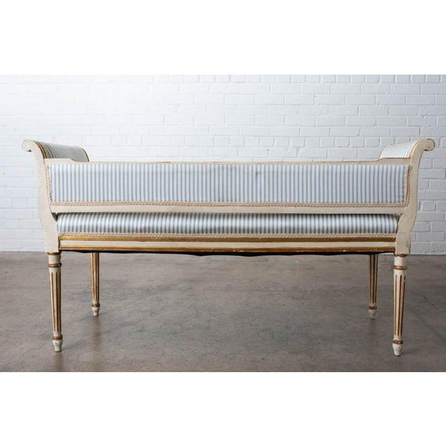 French Louis XVI Style Painted Window Bench Banquette For Sale - Image 12 of 13