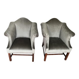 1960s Vintage Upholstered Chippendale Camelback Arm Chairs- A Pair For Sale