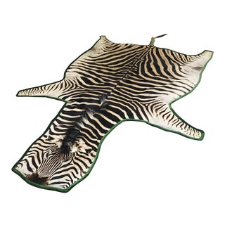 "Forsyth Zebra Hide Rug Trimmed in Schumacher's Emerald Green Silk Velvet - 4' x 5'10"" For Sale"