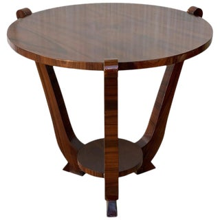 20th Century French Art Deco Palisander Round Top Occasional Table For Sale