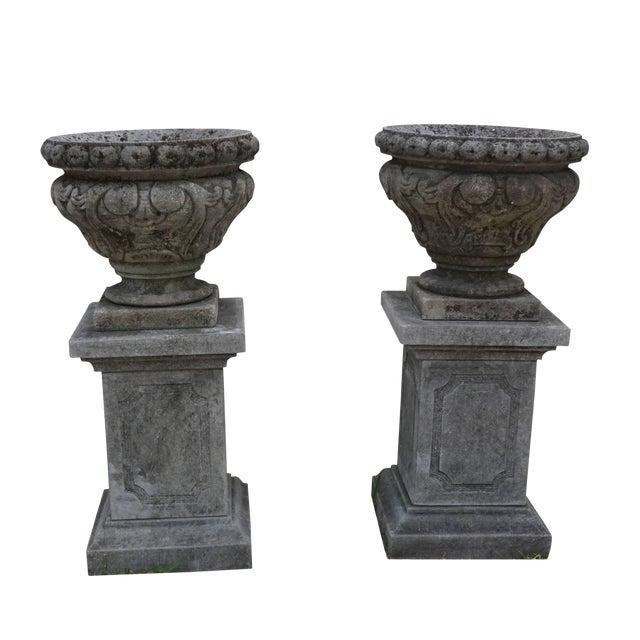 Mid-19th Century Italian Renaissance Style Limestone Urns - a Pair For Sale