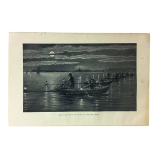 "Vintage Black & White Fishing Print, ""Shad Gill Nets at Night on the Delaware"", Circa 1930 For Sale"