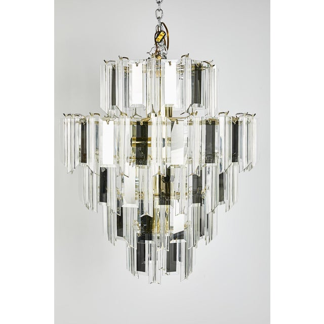 Vintage Italian Waterfall Chandelier With Lucite and Mirrored Prisms For Sale - Image 13 of 13