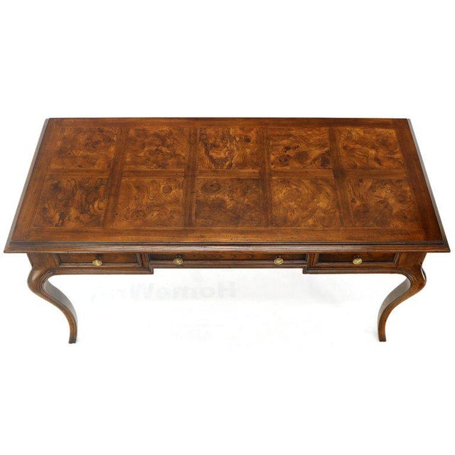 Wood Henredon Cabriole Leg 3-Drawer Burl Wood Writing Table Desk Console For Sale - Image 7 of 13
