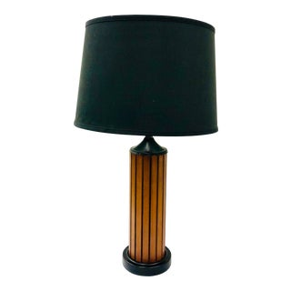 Vintage Mid Century Wood Panel Table Lamp For Sale