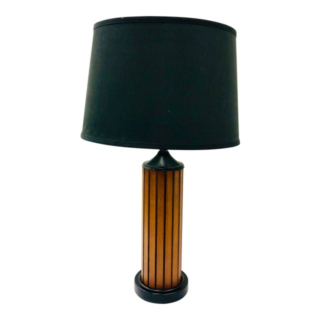 Vintage Mid Century Wood Panel Table Lamp For Sale