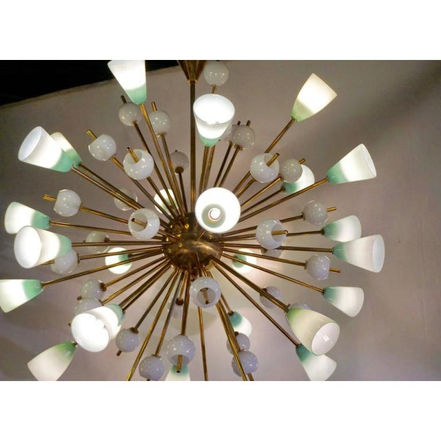 Metal Contemporary Italian White & Mint Green Murano Glass Sputnik Brass Chandelier For Sale - Image 7 of 8