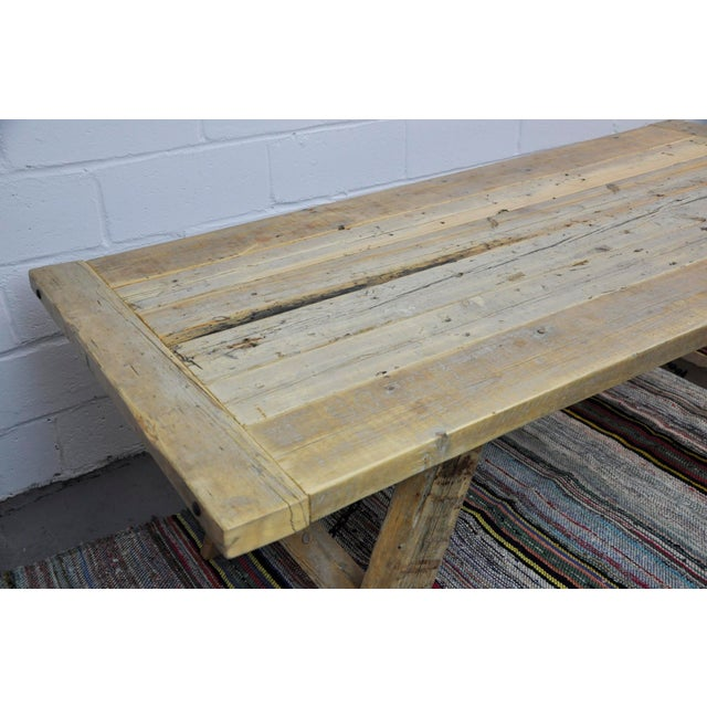 Salvaged Industrial Reclaimed Pine Wood Rustic Dining Table With Metal Elements For Sale - Image 11 of 13