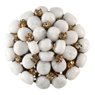 Miriam Haskell White Beaded Brooch With Rhinestones Vintage For Sale