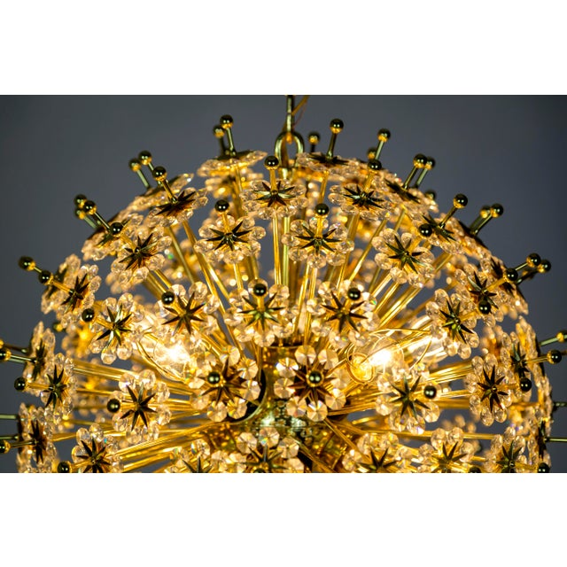 Mid-Century Modern Crystal & Brass Sparkling Sunburst Chandelier (2 Available) For Sale - Image 3 of 10