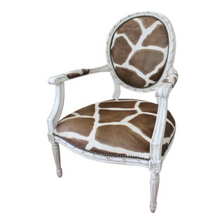 French Hide Lounge Chair For Sale