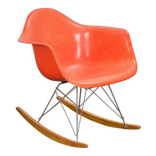 Eames Orange Armchair on Rocker Base For Sale