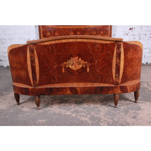 1930s French Art Deco Burl Wood and Inlaid Marquetry Full Size Bed Frame For Sale - Image 4 of 8