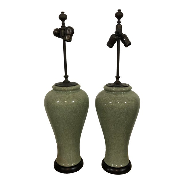 Contemporary Green Crackle Lamps - a Pair For Sale