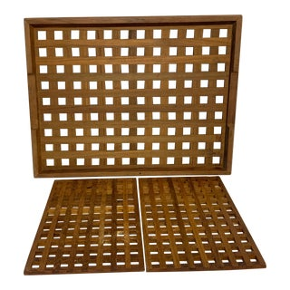 1960s Mid Century Dansk Teak Trivets and Tray For Sale