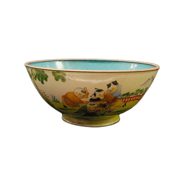 Chinese Display Metal Bowl with Kids Playing Scene For Sale