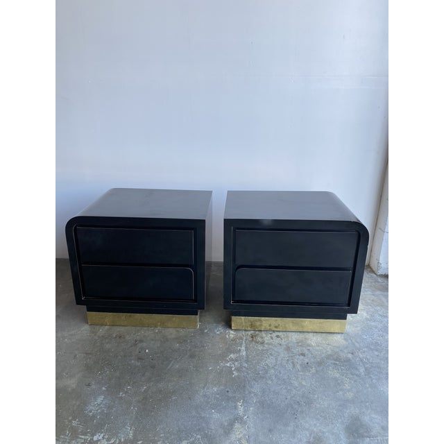1980s Black Laqcuer and Brass Nighstands-a Pair For Sale - Image 4 of 12