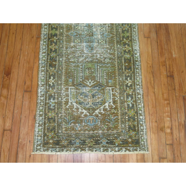 Persian Shabby Chic Heriz Runner - 2'9'' x 10'8'' For Sale In New York - Image 6 of 6