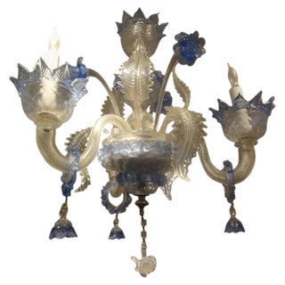 1940s Vintage Murano Glass Three Light Chandelier For Sale