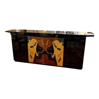 Art Deco Style Inlaid Mid Century Black Lacquer Console For Sale