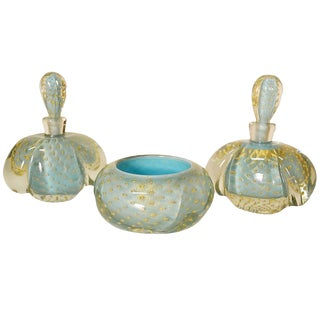 Venetian Murano Perfume Cologne Boudiour Set For Sale