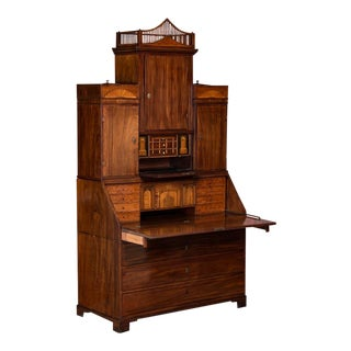 19th Century Empire Style Mahogany Secretary Desk For Sale