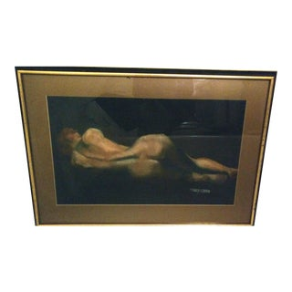 Vintage Mid-Century Reclining Nude Pastel For Sale