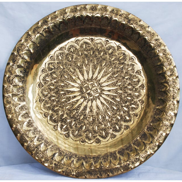 Vintage Moroccan Brass Tray - Image 3 of 8
